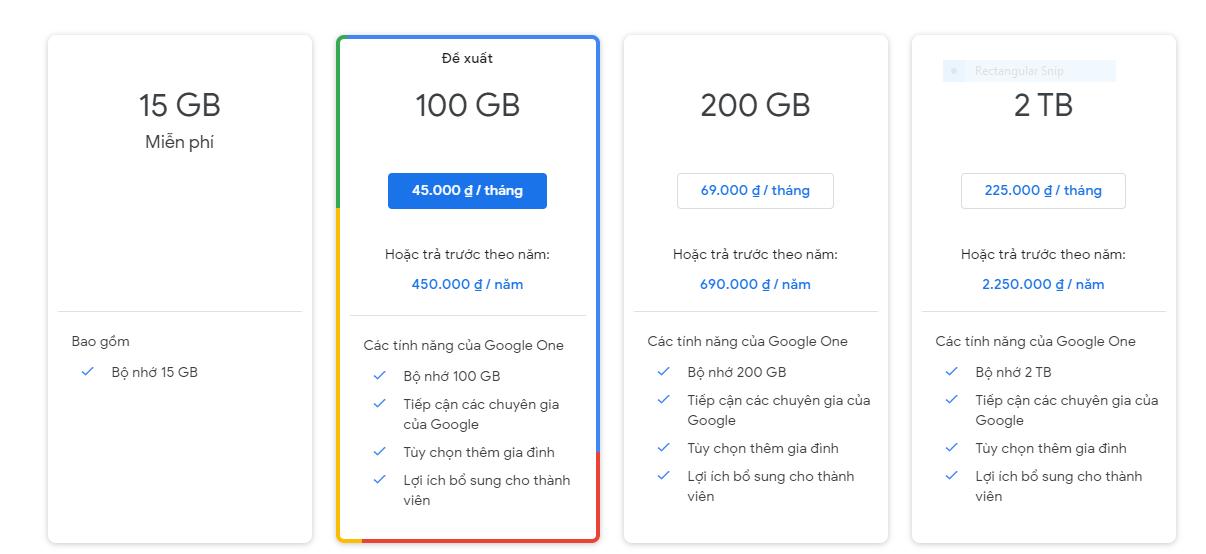 Bảng giá Google Drive chính thống